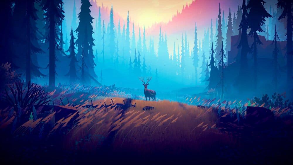 Een hert op een met bomen omringde heide in Among Trees.
