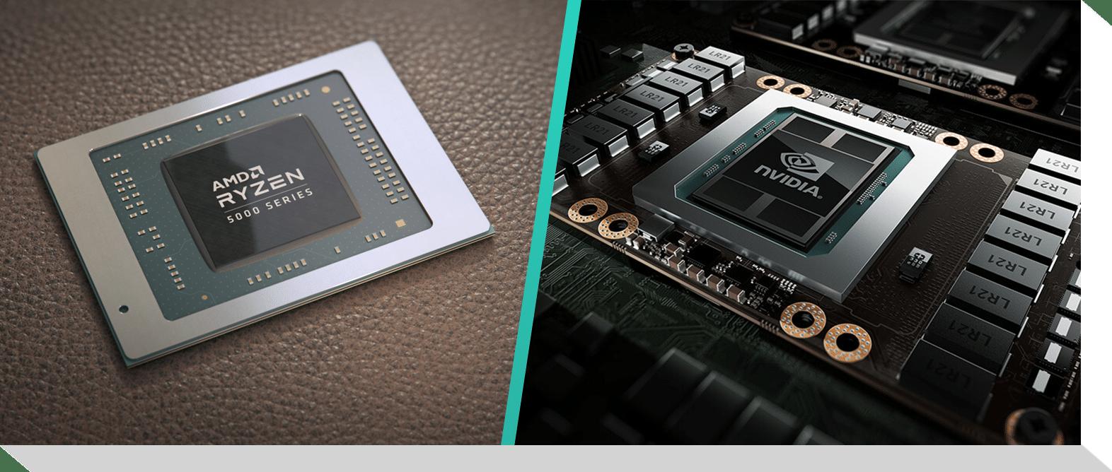 Zij-aan-zij afbeeldingen van respectievelijk een AMD Ryzen 5000-processor en een Nvidia GeForce RTX 3000 grafische chipset.