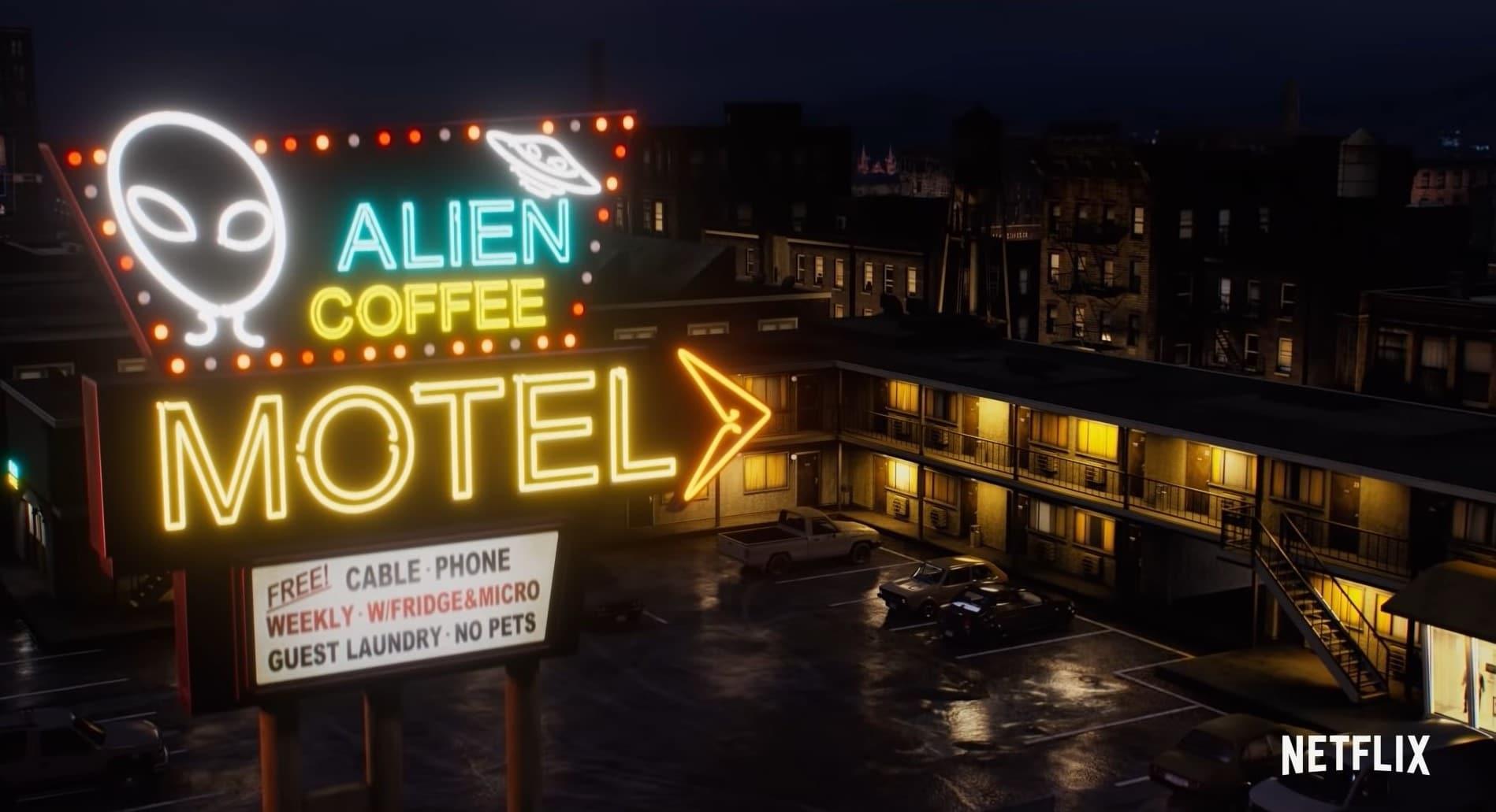 Het Alien Coffee Motel, een locatie in de nieuwe Netflix serie Resident Evil: Infinite Darkness