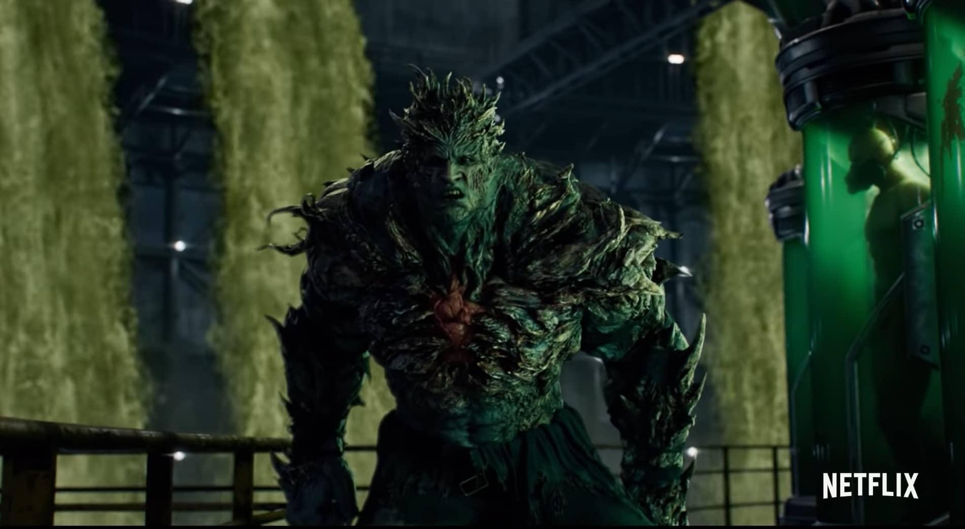 Een monster dat erg veel lijkt op de bekende Nemesis, te zien in de nieuwe Netflix serie Resident Evil: Infinite Darkness