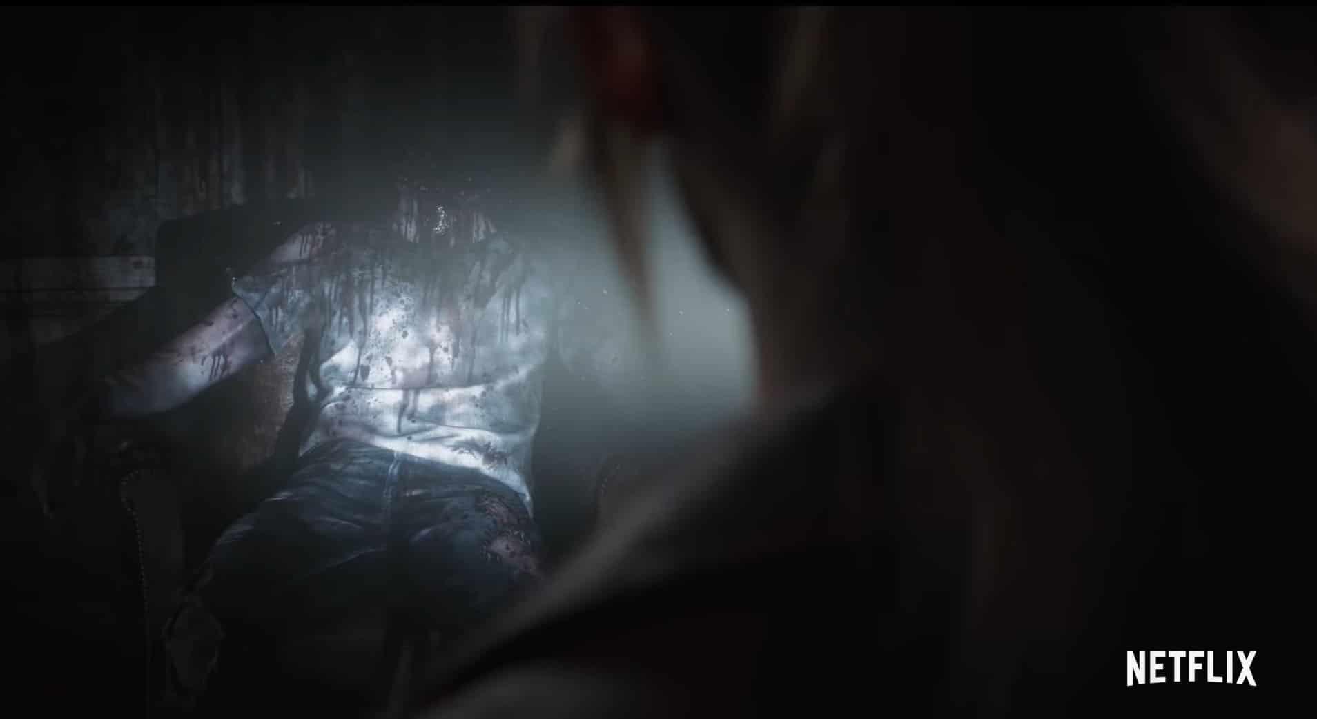 Een onthoofde zombie in de nieuwe Netflix serie Resident Evil: Infinite Darkness