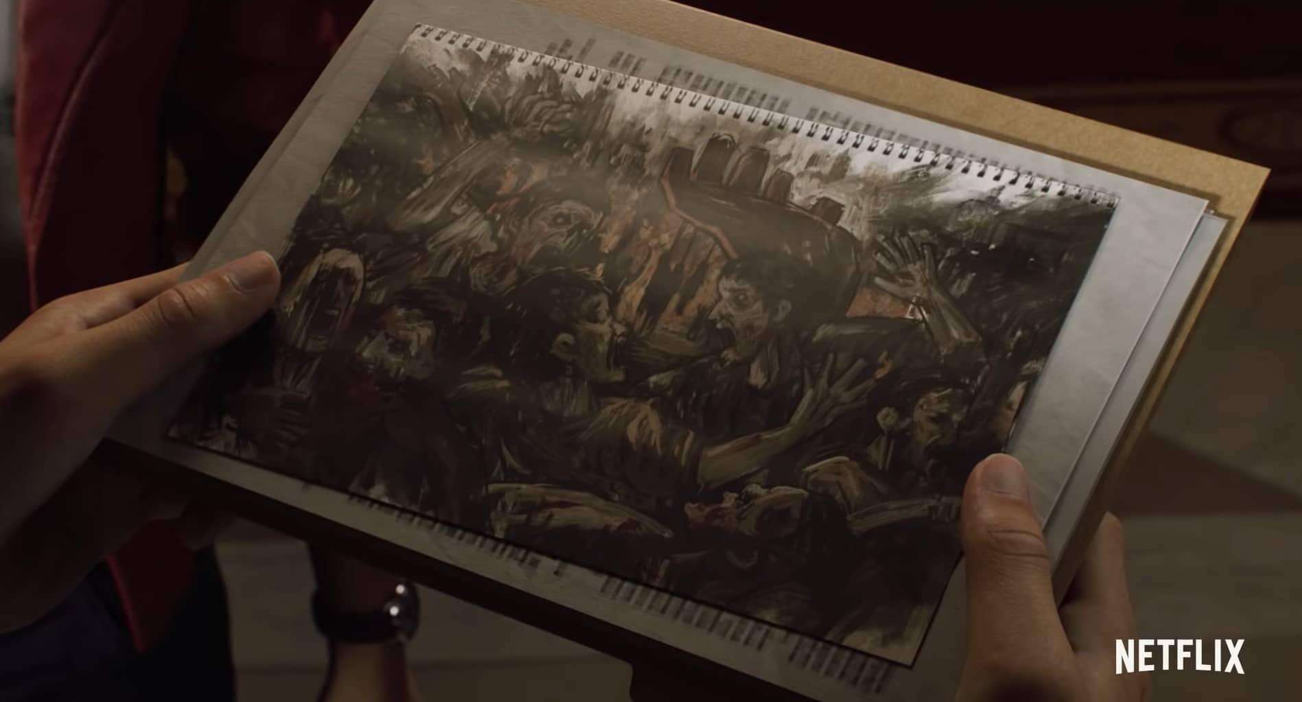 Tekening van een kind die erg lijkt op de zombie-uitbraak van Raccoon City. Leon S. Kennedy en Claire Redfield inspecteren de tekening in de nieuwe Netflix-horrorserie Resident Evil: Infinite Darkness