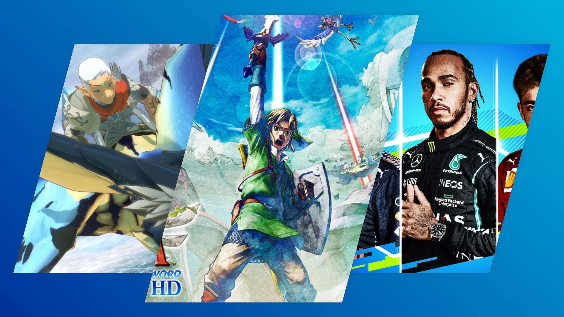 Uitgelichte afbeelding voor releaselijst artikel met Monster Hunter Stories 2, Skyward Sword HD en F1 2021